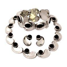 Antonio Pineda Taxco Sterling Silver Parure Necklace Bracelet & Earrings | 1stdibs.com
