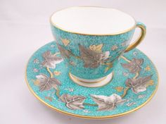 Wedgwood Silver Leaf Motif on Turquoise Bone by TeaCupsFromSharon