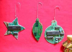 NES Nintendo Circuit Board Christmas Tree Ornaments 3 Piece Set. $30.00, via Etsy. (via Mashable)
