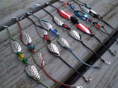 Colorful stackable nautical friendship bracelets - fishing lure spoons and leather cord . Colorful stackable nautical friendship bracelets - fishing lure spoons and leather cord on Etsy Fish Hook Jewelry, Wire Jewelry, Jewelry Crafts, Beaded Jewelry, Jewelery, Handmade Jewelry, Beaded Bracelets, Stackable Bracelets, Redneck Crafts