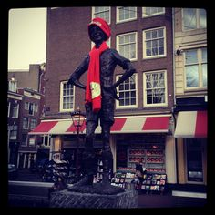 Het Lieverdje. Someone must have thought he was freezing... Amsterdam, February 2012.