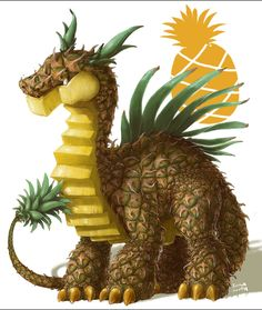 pineapple-fruit dragon by iguanamouth Mythical Creatures Art, Mythological Creatures, Fantasy Creatures, Plant Monster, Monster Art, Cute Food Drawings, Cute Animal Drawings, Weird Fruit, Fruit Animals