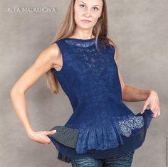 Купить Валяная туника Сны... - тёмно-синий, Валяние, валяная туника, валяная одежда, нунофелтинг