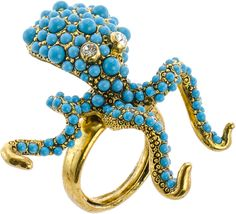 KJL BY KENNETH JAY LANE KJL by KENNETH JAY LANE Simulated Turquoise Octopus Ring