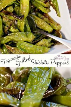 Togarashi Grilled Shishito Peppers are the perfect summer appetizer. #homemadeandyummy #grilledshishitopeppers #shishitopeppers #japenesepeppers #togarashiseasoning | homemadeandyummy.com
