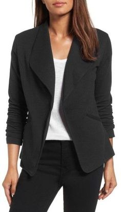 Women's Caslon Knit Blazer. Classic blazer styling hits a more casual note in a soft but substantial cotton fabrication with open-front styling. Sponsored