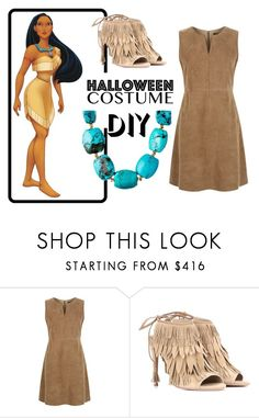 """Pocahontas DIY"" by rebecca-miller-4 ❤ liked on Polyvore featuring Weekend Max Mara, Aquazzura, Rachel Reinhardt, halloweencostume and DIYHalloween"