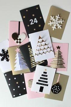 cartes de vœux pour Noël à faire soi-même en carton, décorées de sapins en 3D
