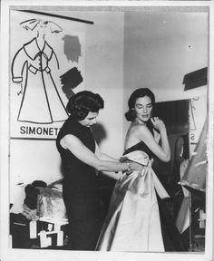 Simonetta Colonna di Cesarò trying a dress for Theo Graham, 1961, photo Leombuno Bodi, courtesy of Archivio Saraceni.