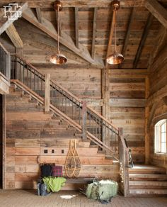 23 Cool and Creative Best Paint Staircase Ideas & Pictures - Home Decor Ideas Rustic Staircase, Staircase Design, Staircase Ideas, Cabin Homes, Log Homes, Loft Railing, Railings, Rustic Home Design, Cabin Interiors