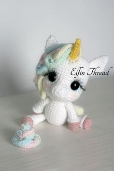 Lily Rainbow Cheeks the Unicorn Amigurumi PDF Pattern   Elfin Thread