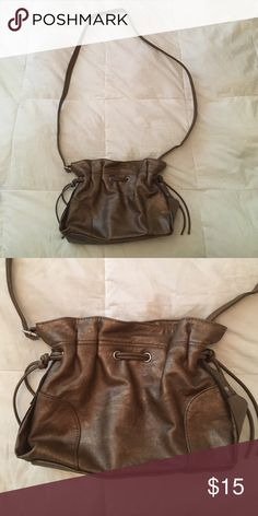 Shiny Brown Bag Description: Cute bag! Condition: Only worn twice! Smoke free home! Ask questions before you purchase! Bags Crossbody Bags