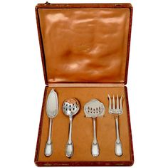 Puiforcat French Sterling Silver Dessert Hors D'oeuvre Set, Box, Neoclassical   From a unique collection of antique and modern sterling silver at https://www.1stdibs.com/furniture/dining-entertaining/sterling-silver/