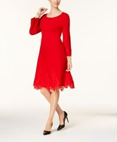 Charter Club Petite Lace-Hem Fit & Flare Dress, Created for Macy's - Red P/XS