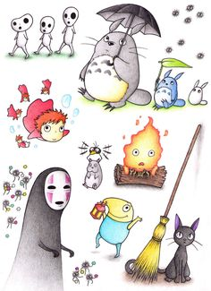 Studio Ghibli by on DeviantArt - Just something I did whilst I was on holiday, a tribute to the studio Ghibli movies (and the game ni nu kuni) as I know ol Hayao Miyazaki is retiring. Anyways, here are various spirits, a… Studio Ghibli Tattoo, Studio Ghibli Art, Studio Ghibli Movies, Hayao Miyazaki, Manga Comics, Personajes Studio Ghibli, Totoro Merchandise, Castle In The Sky, My Neighbor Totoro