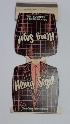 HENRY SEGAL CLOTHING BANGOR MAINE JEWELITE Matchbook Matchcover