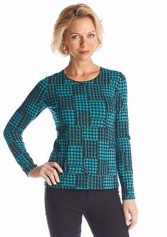 Kim Rogers  Houndstooth Knit Top