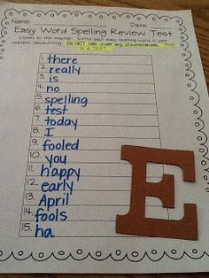 *Bunting, Books, and Bainbridge*: April Fool's spelling test-cute idea!
