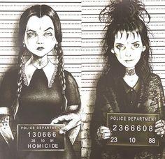 ghostoflalonde:  chloetalksmusic:  Wednesday Addams & Lydia Deetz mugshots by Marcus Jones  Holy shit these are amazing.