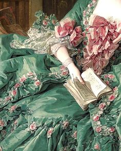 Beautiful detail from a portrait of Madame de Pompadour by Francois Boucher.