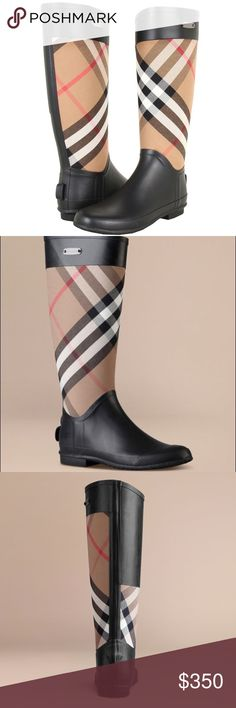 Burberry house check panel Rainboots Used only twice!! Like new condition has no white wax buildup yet!! Sole is in perfect condition! Sorry no box! 💯 Authentic  55% rubber, 45% cotton Burberry has created this product using high quality natural rubber. To clean, wipe with a damp cloth or wash with lukewarm, soapy water. Do not use solvents. Over time there may be a release of protective wax, leaving a fine white deposit. This is normal and does not affect the quality of the boots. Burberry…