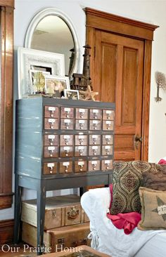 Our Prairie Home: Card Catalogue {A Before & After} / dark grey and wood finish
