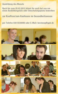 Die Ausbildung des Monats Februar/März 2013! http://www.gpb-berlin.de/Kaufmann-Kauffrau-Gesundheitswesen-Berlin.257.0.html