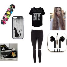 Skater girl by noely-jones on Polyvore featuring Aéropostale, Glamorous, Converse, CellPowerCases and PhunkeeTree