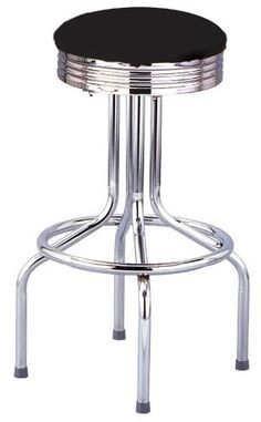 Heavy Duty Diner Tulip Frame Black Bar Stool - Made in the USA by BudgetBarStools. $89.95. Make a statement in your bar, restaurant or kitchen with our Retro Tulip bar stool. Made in the USA, this stool features an 18-gauge steel frame with a commercial nickel plated chrome finish. Seat is upholstered in Bermuda Black upholstery vinyl with a retro diner chrome pan.  Ships fully assembled.