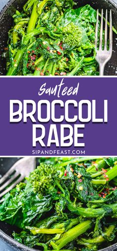 Sauteed broccoli rabe (rapini) with garlic olive oil and a touch of red pepper flakes makes the best Italian side dish. This easy veggie side goes well with hearty roasts pasta dishes or for any time youre in search of a quick veggie dish! Sauteed Broccoli Rabe, Broccoli Rabe Recipe, Veggie Dishes, Pasta Dishes, Vegetable Appetizers, Red Cabbage Soup, Italian Side Dishes, Side Dish Recipes, Dinner Recipes