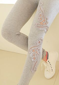 Hollowed Crochet Leggings - Grey, lookbookstore.co Refashion inspiration.