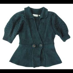"""Gorgeous &rare Charlie Robin Sprigs Sweater Jacket Beautiful teal green color in a melange of different knits. Elbow length bishop sleeves. Pretty floral embroidered buttons adorn bodice. Slight peplum accentuates your curves. Wool/acrylic/alpaca blend. Excellent condition. Size S (4/6) - please refer to measurements. Bust - 18"""" (laid flat and measured straight across), Length - 23"""". Anthropologie Sweaters Cardigans"""