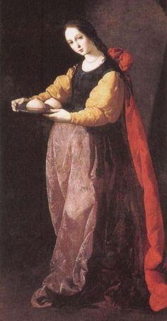 The Female Saints of Francisco de Zurbarán  (Spanish painter, 1598–1664) Saint Agatha ♡