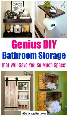 Space-Saving DIY Bathroom Storage Ideas If you have a small bathroom, you may have a hard time keeping it looking nice and organized. These space-saving DIY bathroom storage ideas can help! Bathroom Towel Storage, Small Bathroom Organization, Diy Organisation, Toilet Storage, Diy Bathroom Decor, Diy Storage, Storage Ideas, Bathroom Ideas, Storage Solutions