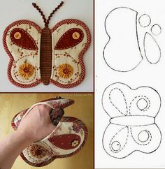 Simple basic pattern for a butterfly potholder. Fabric Crafts, Sewing Crafts, Sewing Projects, Borboleta Diy, Diy Butterfly, Butterfly Pattern, Techniques Couture, Oven Glove, Mug Rugs
