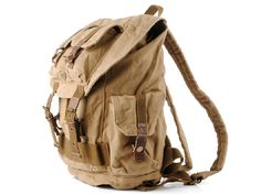 Military Style Canvas Travel School Backpack with Many Pockets #canvasbackpack