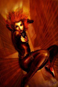 Black Widow falling through skyline mock comic book cover by ChristyTortland