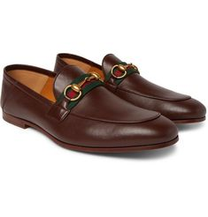 Gucci Brixton Webbing-trimmed Horsebit Collapsible-heel Leather Loafers In 2271 L. Loafers Outfit, Gucci Loafers, Gucci Shoes, Loafer Shoes, Loafers Men, Mens Brown Leather Loafers, Brown Loafers, Dark Brown Leather, Leather Men