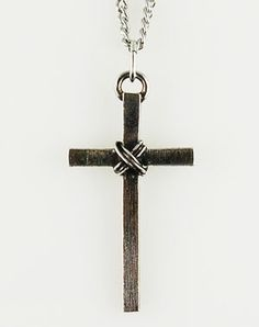Male Christian jewelry                             Pewter Cross Necklace - Textured Wrappednecklace
