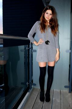 60s outfit idea: tshirt dress and over the knee socks