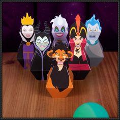 Disney Papercraft - Villains Bowling Pins Free Templates Download