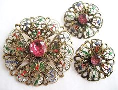 Vintage Enamel and Pink Rhinestone Pin and Earrings West Germany. $20.00, via Etsy.