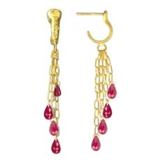 Dew Ruby Long Drop Earrings Squash Blossom, Pink Jewelry, Pretty In Pink, Pure Products, Drop Earrings, Gemstones, Metal, Colorado Springs, Drop Earring