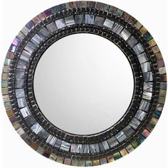 Mosaic Mirror Gray and Brown Round Wall Mirror ($120) ❤ liked on Polyvore featuring home, home decor, mirrors, gray mirror, circular wall mirror, grey home decor, beaded mirror and mosaic mirror