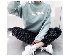 mock turtleneck sweatshirt + casual pinstriped chinos