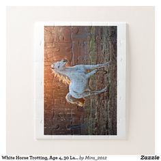 Shop White Horse Trotting, Age 30 Large Pieces Jigsaw Puzzle created by Personalize it with photos & text or purchase as is! Custom Gift Boxes, Customized Gifts, Make Your Own Puzzle, Ways To Relax, Puzzles For Kids, High Quality Images, Your Design, Jigsaw Puzzles, Vibrant