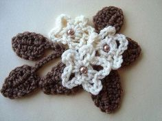 Crochet flower and leaf # 13, leaves and flower, how to diy,