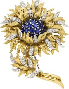 TIFFANY AND COMPANY  BROOCHES | Tiffany & Co Sapphire, Diamond, and Gold Brooch}....The brooch ...