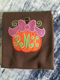 Personalized pumpkin with bow shirt. Matching by AinsleysDesigns