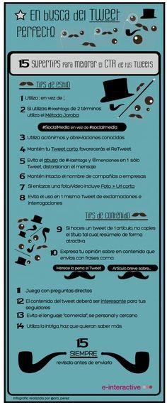 Infografía en español que muestra 15 consejos para optimizar los tweets.